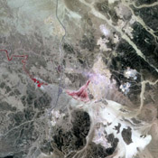 Jordan's leading industry and export commodities are phosphate and potash, ranked in the top three in the world. These are used to make fertilizer. This image was acquired by NASA's Terra satellite on September 17, 2005.