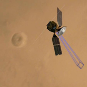 NASA's Mars Reconnaissance Orbiter using the High Resolution Imaging Science Experiment (HiRISE) camera to take a picture of the Phoenix lander roughly 22 hours after landing.