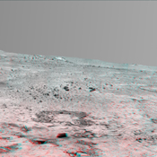 This stereo, 180-degree panorama shows the southward vista from the location where Spirit is spending its third Martian winter inside Mars' Gusev Crater on July 2, 2008. 3D glasses are necessary to view this image.