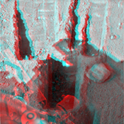 Digging by NASA's Phoenix Mars Lander on Aug. 23, 2008, reached a depth about three times greater than in any trench Phoenix has excavated. 3D glasses are necessary.