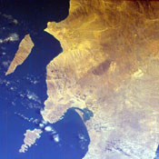 This is an image of the southern portion of the Baja California Peninsula taken by NASA's EarthKAM on February 12, 2000. The Pacific Ocean lies to the west and the Gulf of California to the east.