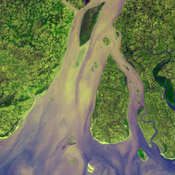 The western-most part of the Ganges Delta is seen in this 54.5 by 60 km ASTER sub-scene acquired on January 6, 2005. The Hugli River branches off from the Ganges River.
