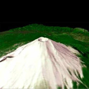 The nearly perfectly conical profile of Fuji, Japans highest mountain, soars 3,776 meters (12,388 feet) above sea level on southern Honshu, near Tokyo. This image was acquired by NASA's Terra spacecraft.