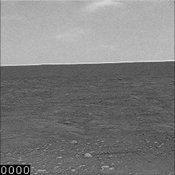 This images from a sequence of images that combines 32 images of clouds moving eastward across a Martian horizon. The Surface Stereo Imager on NASA's Phoenix Mars Lander took this set of images on Sept. 18, 2008,