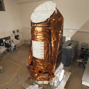 NASA's Kepler spacecraft in a clean room at Ball Aerospace & Technologies Corp. in Boulder, Colo.