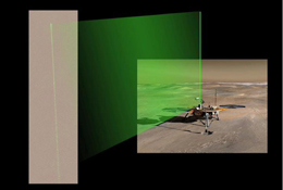 The Surface Stereo Imager camera aboard NASA's Phoenix Mars Lander acquired a series of images of the laser beam in the Martian night sky. Bright spots in the beam are reflections from ice crystals in the low level ice-fog.