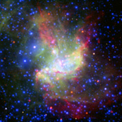 This painterly portrait of a star-forming cloud, called NGC 346, is a combination of multiwavelength light from NASA's Spitzer Space Telescope, the European Southern Observatory's New Technology Telescope, and the European Space Agency.