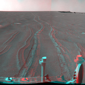 On September 28, 2008, NASA's Mars rover Opportunity reached this location on the west side of 'Victoria Crater.' 3D glasses are necessary.