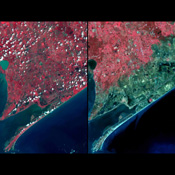 Three weeks after Hurricane Ike came ashore near Galveston, TX, residents returned to find their houses in ruins. Images were acquired by NASA's Terra satellite on September 28, right, and August 15, 2006, left.