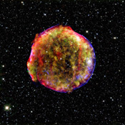 This composite image of the Tycho supernova remnant combines infrared and X-ray observations obtained with NASA's Spitzer and Chandra space observatories, respectively,