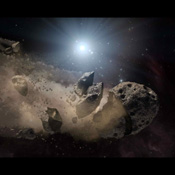 NASA's Spitzer Space Telescope set its infrared eyes upon the dusty remains of shredded asteroids around several dead stars. This artist's concept illustrates a 'white dwarf,' surrounded by the bits and pieces of a disintegrating asteroid.