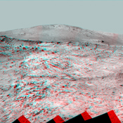This 360-degree panorama shows the vista from the location where NASA's Mars Exploration Rover Spirit has spent its third Martian southern-hemisphere winter inside Mars' Gusev Crater. 3D glasses are necessary to view this image.