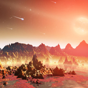 This artist's conception shows a young, hypothetical planet around a cool star. A soupy mix of potentially life-forming chemicals can be seen pooling around the base of the jagged rocks.