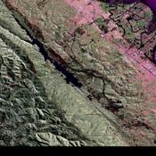 This image is a false-color composite of three channels of the UAVSAR polarimetric data acquired over the San Andreas Fault west of San Mateo, California.