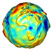 This visualization of a gravity model was created with data from NASA's Gravity Recovery and Climate Experiment and shows variations in the gravity field across Africa and Europe.