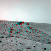 The navigation camera on NASA's Spirit caught this stereo view of a dust devil during the on May 21, 2009. The view is to the west from Spirit's position at the 'Troy' location where Spirit had become embedded a few weeks earlier.