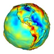 This visualization of a gravity model was created with data from NASA's Gravity Recovery and Climate Experiment and shows variations in the gravity field across the Americas.