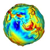 This visualization of a gravity model was created with data from NASA's Gravity Recovery and Climate Experiment and shows variations in the gravity field across the Asia and Australia.