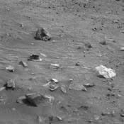 This scene combines three frames taken by the navigation camera on NASA's Mars Exploration Rover Spirit during the 1,866th Martian day, or sol, of Spirit's mission on Mars (April 3, 2009). It spans 120 degrees, with south at the center.