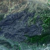 JPL's Advanced Spaceborne Thermal Emission and Reflection Radiometer aboard NASA's Terra satellite captured this simulated natural color image of the Station fire burning in the San Gabriel Mountains.