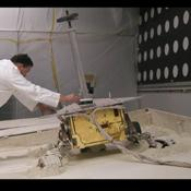 Tests of possible maneuvers for use by NASA's rover Spirit on Mars include use of this lightweight test rover at the Jet Propulsion Laboratory, Pasadena, Calif.