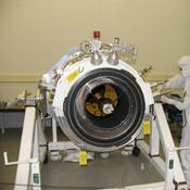 The science instrument on NASA's Wide-field Infrared Survey Explorer is shown here with its aperture cover removed, during assembly at the Space Dynamics Laboratory in Logan, Utah.