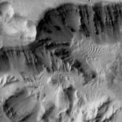 NASA's 2001 Mars Odyssey shows part of the floor of Coprates Chasma which contains various deposits, including dune fields.