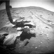 This frame (taken from a three-frame animation) aids evaluation of performance of the right-front wheel on NASA's Mars Exploration Rover Spirit during a drive on the rover's 2,117th Martian day, or sol (Dec. 16, 2009).