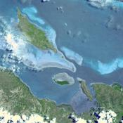 In this image, taken by NASA's Terra spacecraft, six marine clusters represent the main diversity of coral reefs and associated ecosystems in the French Pacific Ocean archipelago of New Caledonia.