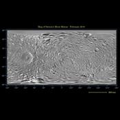 This global map of Saturn's moon Mimas was created using images taken during NASA's Cassini spacecraft flybys, with NASA's Voyager images filling in the gaps in Cassini's coverage.