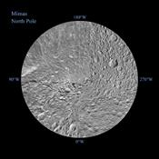 The northern hemisphere of Saturn's moon Mimas is seen in these polar stereographic maps, mosaicked from the best-available NASA's Cassini and Voyager images.