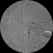The southern hemisphere of Saturn's moon Tethys is seen in this updated polar stereographic maps, mosaicked from the best-available images obtained by NASA's Cassini spacecraft.