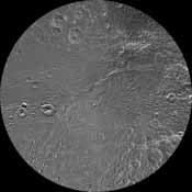 The northern and southern hemispheres of Dione are seen in these polar stereographic maps of the south pole, mosaicked from the best-available clear-filter images from NASA's Cassini and Voyager missions.