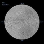 The northern and southern hemispheres of Rhea are seen in these polar stereographic maps, mosaicked from the best-available NASA Cassini and Voyager images. Six Voyager images fill in gaps in Cassini's coverage of the moon's north pole.
