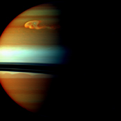 The head of Saturn's huge northern storm is well established in this view captured early in the storm's development by NASA's Cassini spacecraft in late 2010.