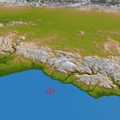 This perspective view from NASA's Shuttle Radar Topography Mission of coastal Chile indicates the epicenter (red marker) of the 8.8 earthquake on Feb. 27, 2010, just offshore of the Maule region in the Bahia de Chanco.