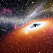 This artist's conception illustrates one of the most primitive supermassive black holes known (central black dot) at the core of a young, star-rich galaxy.