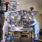 Assembly began April 1, 2010, for NASA's Juno spacecraft. Workers at Lockheed Martin Space Systems in Denver, Colorado workers are readying the spacecraft's propulsion module.