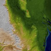 The topography surrounding the Laguna Salada Fault in the Mexican state of Baja, California, is shown in this perspective view with data from NASA's Shuttle Radar Topography Mission where a 7.2 earthquake struck on April 4, 2010.