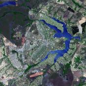 This image from NASA's Terra spacecraft shows the planned city of Brasilia, the capital of Brazil, with a population of about 3.6 million for its metropolitan area.
