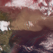 NASA's Terra satellite flew directly over Iceland on April 19, 2010, to capture this stereo anaglyph generated from the nadir and 46-degree forward-viewing cameras of the Eyjafjallajökull volcano and its erupting ash plume. 3D glasses are necessary.