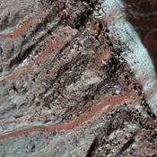 This image taken by NASA's Mars Reconnaissance Orbiter shows gullies in a semi-circular trough in Noachis Terra. The gullies are observed to face all directions.