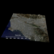 This frame from an animation depicts variations in surface elevation resulting from the discharge and recharge of groundwater basins in Southern California.