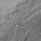 This image, captured by NASA's Mars Odyssey on May 23, 2010 of Daedalia Planum, shows various lava flows from Arsia Mons.