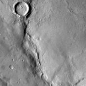 NASA's Mars Odyssey captured this unnamed channel is west of Flammarion Crater in Terra Sabaea on July 23, 2010.