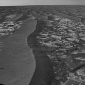 This panorama taken by NASA's Mars Exploration Rover Opportunity includes an outcrop informally called