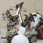 Testing of the robotic arm on NASA's Mars rover Curiosity on Sept. 3, 2010, included movements of the arm while the rover was on a table tilted to 20 degrees to simulate a sloped surface on Mars.