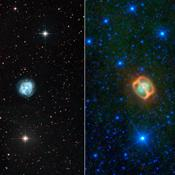 This image composite shows two views of a puffy, dying star, or planetary nebula, known as NGC 1514. At left is a view from a ground-based, visible-light telescope; the view on the right shows the object in infrared light from NASA's WISE telescope.