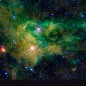 NASA's Wide-field Infrared Survey Explorer captured this colorful image of the nebula BFS 29 surrounding the star CE-Camelopardalis, found hovering in the band of the night sky comprising the Milky Way.
