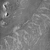 These lava flows in Elysium Planitia captured by NASA's Mars Odyssey are called platy flows. The surface of the lava flow cooled and solidified, while liquid lava beneath kept flowing.